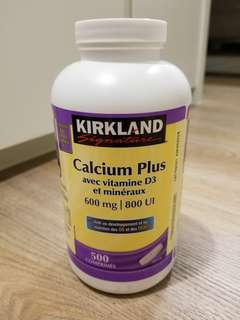 Kirkland Calcium Plus with Vitamin D3 & Minerals (500 Tablets)