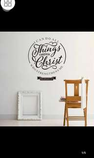 ✔Instock Bible I can do all things through Christ wall sticker English Bedroom Study Classroom Stickers Waterproof Removable /Christianity diy home Decor ⏹Size W51*57cm