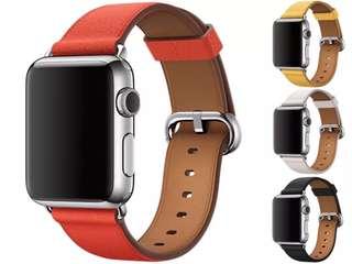 适配苹果手表apple i watch1/2/3代表带牛皮38/42mm男女真皮表带