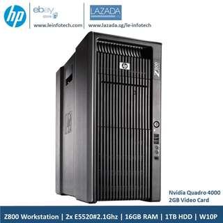 🚚 HP Z800 CAD Workstation 2x intel Quad Core E5502#2.0Ghz 16GB RAM 1TB SATA HDD Nvidia 4000 2GB Graphic card Win 10 Pro