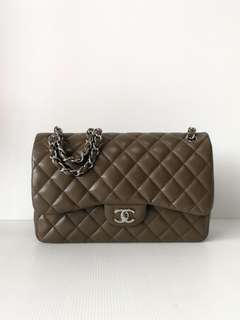 Authentic Chanel Classic Jumbo Etoupe Flap Bag