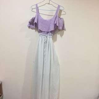 薰衣草紫色縮腰長洋裝