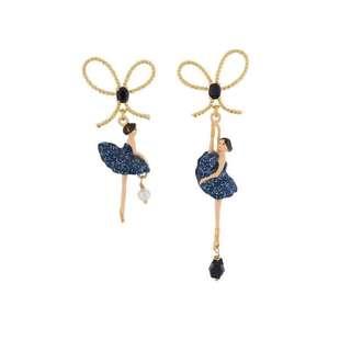 (包平郵)❤️日系 琺瑯彩釉糖果色 蝴蝶結 芭蕾舞女 圖案超美 耳環 ear ring (藍色)