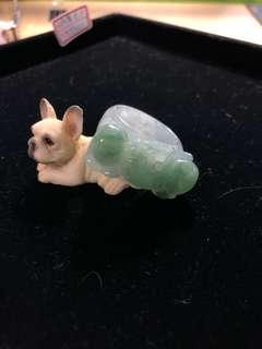 蝙蝠湖水綠寬版玉戒指
