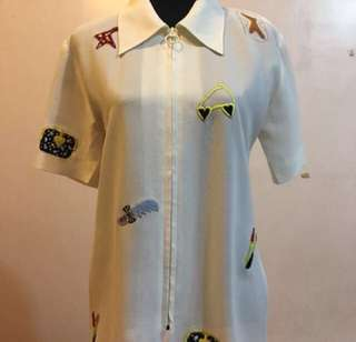 Collared Blouse with Patches
