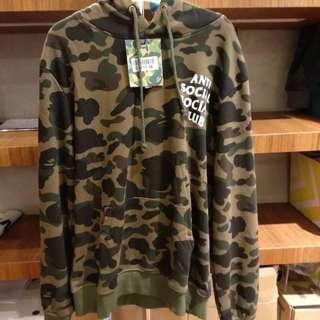 Anti Social Social Club x BAPE Pullover Camo Green Hoodie