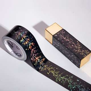 (PO) Iridescent Flower Black Washi Tape