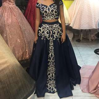 Blue Crop Top Debut Gown