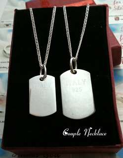 Genuine 925 Italy silver couple necklace