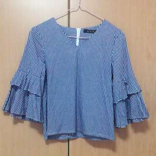 Ninth Collective checkered ruffles top