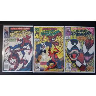 Amazing Spider-Man #361,#362,#363 (1992, 1st Series) 1ST FULL Appearance of CARNAGE! 1ST Battle-Royale between Spidey Vs Carnage Vs VENOM! UBER-RARE Must-Have Key-Books, AWESOMELY ICONIC!!