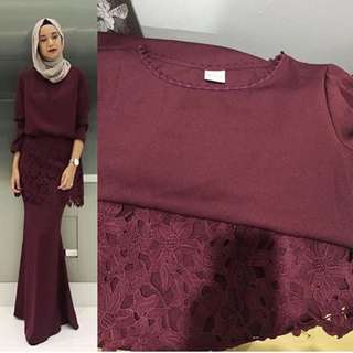 Alia bastamam kurung in wine red