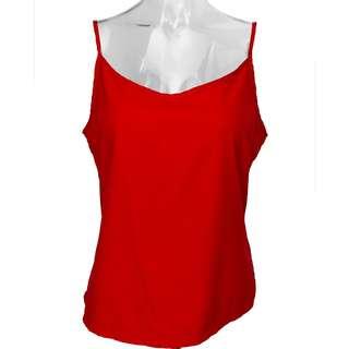義大利Max Mara紅色花細肩帶內搭上衣 L號 義大利製