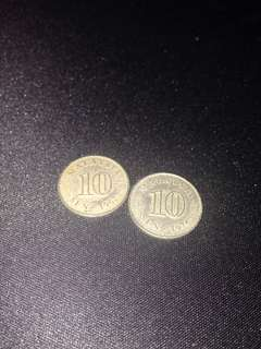 Old Malaysia coin 1967 and 1976 (10 Sen)