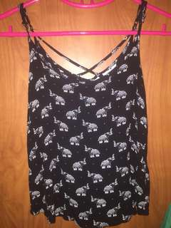 black tank top with elephant prints criss cross back