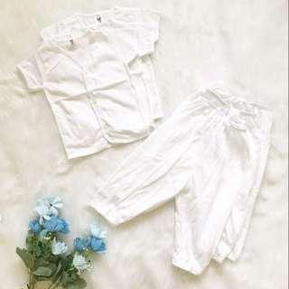 Baby Dress Shortsleeves Buttoned & Pajama White (Set of 3)