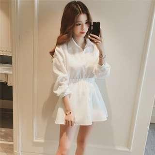 ◇悠莎◇ 新品清新中長款白色襯衫連身裙 566147319609180522