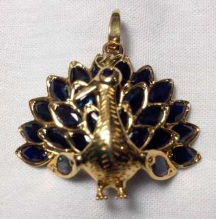 Genuine Sapphire Pendant (Peacock Design)