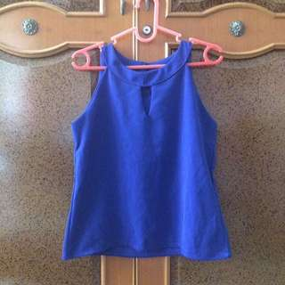 Blue Halter Neck Top