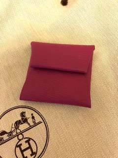 Hermes bastia chevre coin purse L3 rose pourpre not rodeo kelly lindy birkin charm card holder