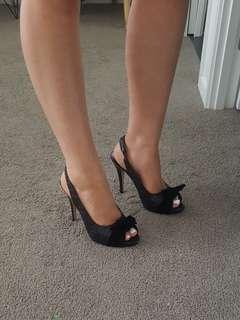 Bonbons Black Sparkly Open Toe Slingback Heels Size 6.5 RRP$99.95 Brand New