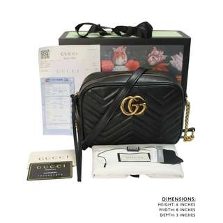 9A GUCCI GG MARMONT MATELASSE SHOULDER ZIPPERED BLACK BAG