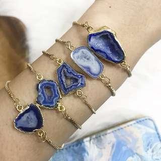 Gemtle Blue Druzy Adjustable Bracelet