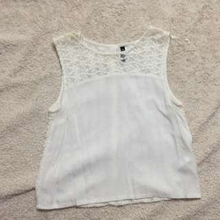 H&M White Floral Sleeveless Top Size S