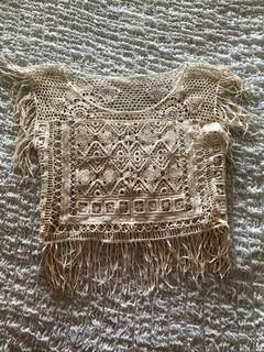 Bohemian hollowed-out festival crop top with tassels