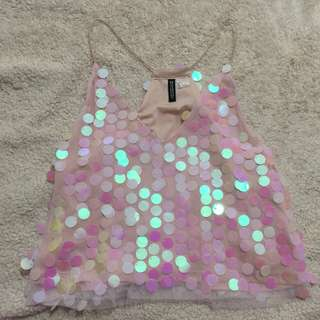 H&M Pink Sequin Tank Top Size S