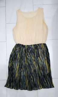 Beige and Green Pleated Dress