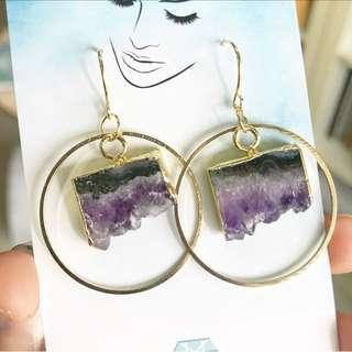 Amethyst Slice Earrings by Gemtle