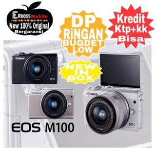 Canon EOS M100 Kit 15-45mm-Cash/kredit DP 900rb ditoko ktp+kk wa;081905288895