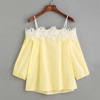 Yellow Off Shoulder XL Plus Size