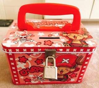🚚 航海王海賊王ONE PIECE多尼多尼·喬巴手提鐵盒存錢筒 收納筒 置物筒 撲滿 附鑰匙鎖