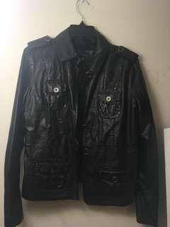 Black Tommy Hilfiger Leather Jacket (Size L)