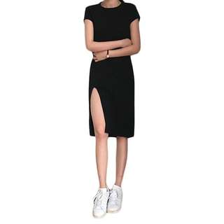 Black midi slit dress