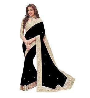 WOMEN'S CHIFFON SAREE WITH BLOUSE PIECS AND PEARL