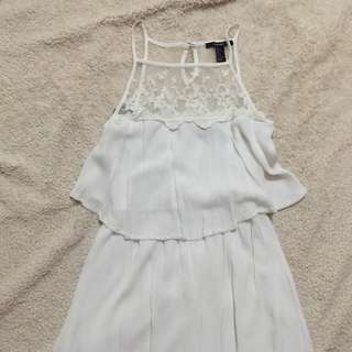 Forever 21 White Crochet Summer Dress Size S