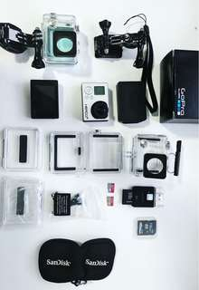 GOPRO HERO 3+ SILVER WITH ACCESSORIES + 2 MICRO SD CARD