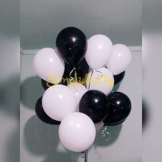 BLACK AND WHITE MATTE HELIUM BALLOONS