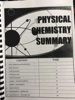 A levels H2 Chemistry Summary printed notes hardcopy - Physical & Inorganic Chemistry