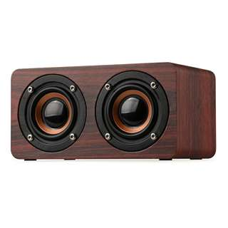 Wooden Bluetooth Speaker - 10W Output Power, 3.5mm Audio Input, Control Panel, Build-in Mic (CVAGF-B167)