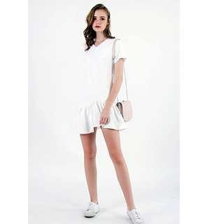 FREDA ASYMMETRICAL FLARE DRESS (WHITE) LOVET