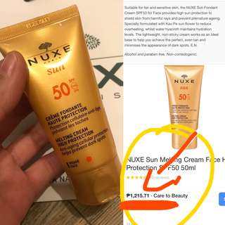Auth💯Nuxe Sunblock for Sensitive Skin Spf 50 (Retails at 1,250)