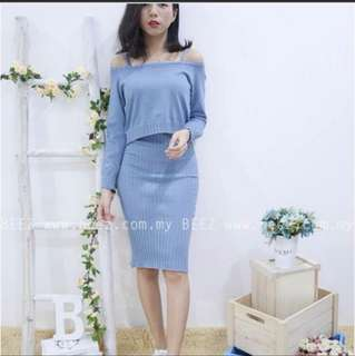 Reast stock 2 in 1 Fitted knitted blue Dress