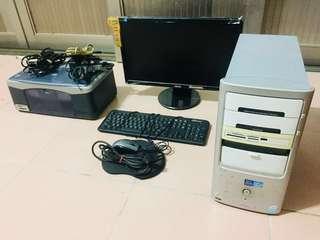 功能正常...ASUS HDMI 螢幕 +i3 GT 730 主機 + HP 1350 印表機 桌機.桌上型電腦
