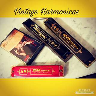 "1970s Vintage Harmonicas (3pcs) + Cassette Tape by Famous Harmonica Master with Delightful Music (incl. ""Singapura""). You can listen & learn to follow. Working Condition. All 4 items for $45 offer!"