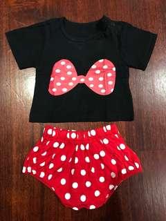 1 set Minnie top&pant (size 3-6m)