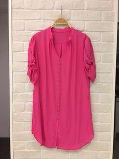蠶絲質感桃花長版上衣 胸圍38吋,衣長81cm